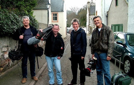 Griff Rhys Jones, second from right, with his TV crew