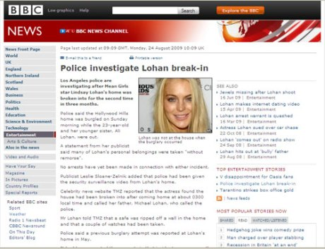 Todays-news-lohan-break-in-credit-BBC-NEWS