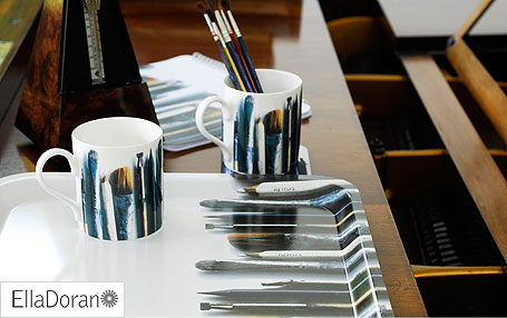 Ella Doran's Artists brushes mug and tray