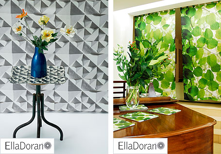 Ella Doran Geo wallpaper and tray and Sunlight through Leaves  blind and placemats