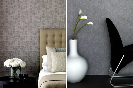Kelly Hoppen's new range of plain and neutral wallpaper for B&Q