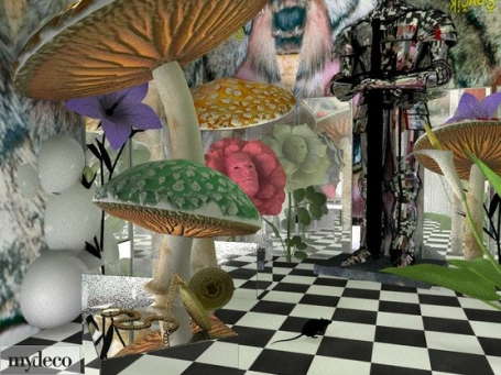 3d rooms get aliced in our alice in wonderland - Alice in wonderland outdoor decorations ...